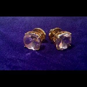 Tory Burch Pink Crystal Stud Gold-Tone Earrings